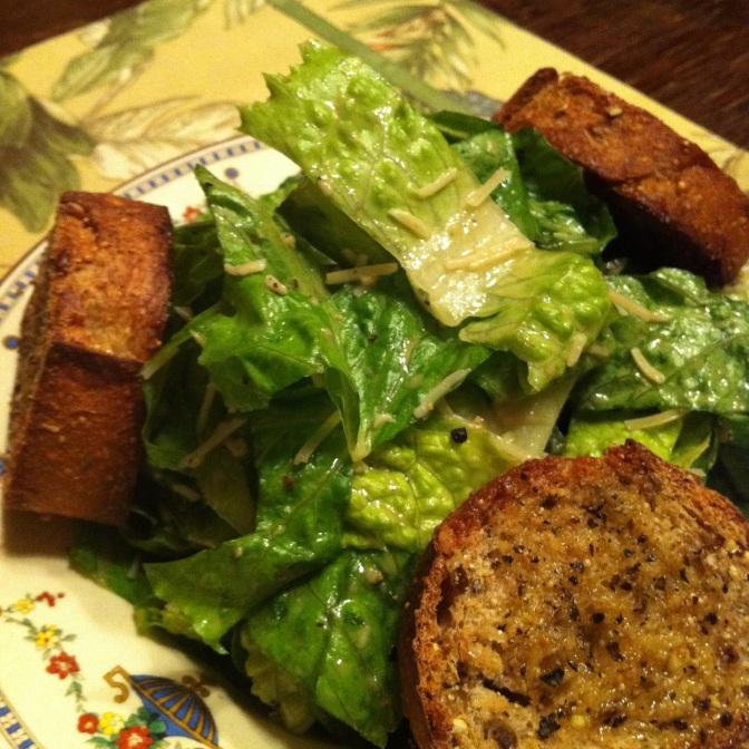 Caesar Salad with Garlic Crostini