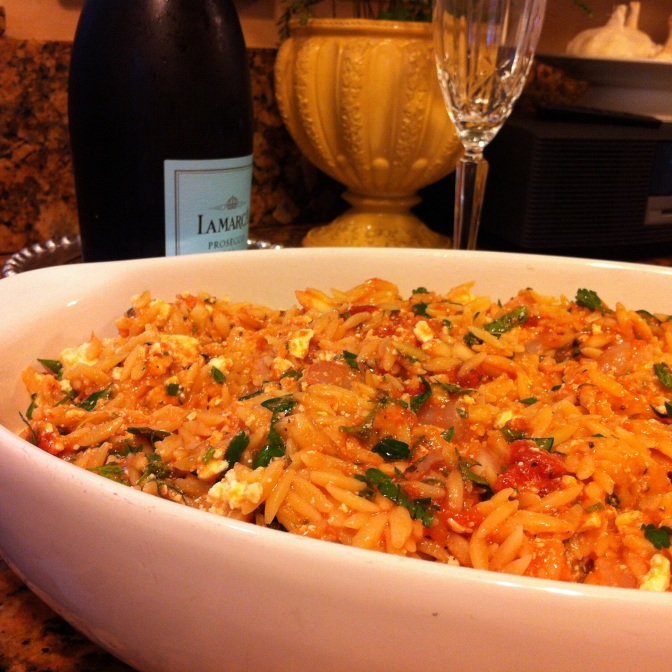 Baked Orzo with Lemon, Shrimp and Feta