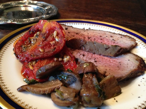 I served my Roast Beast with Provencal Roasted Tomatoes and a Ragout of Wild and Domestic Mushrooms.