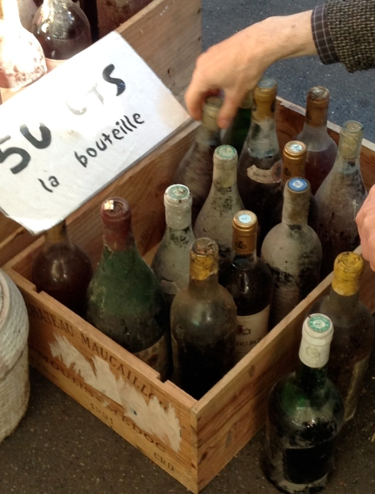Old bottles of wine.  Vinegar?  Decoration?