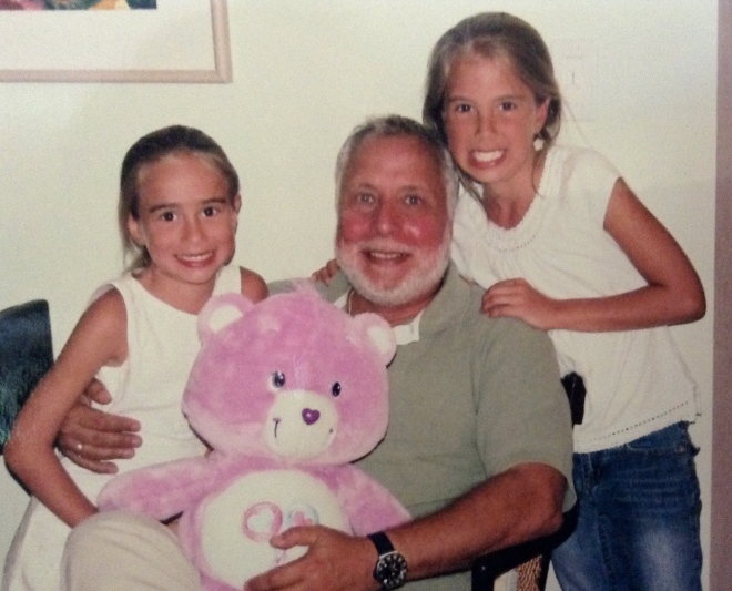 Annie and Meggie, the Tinies, with their beloved Uncle Jimmy when they truly WERE tiny!