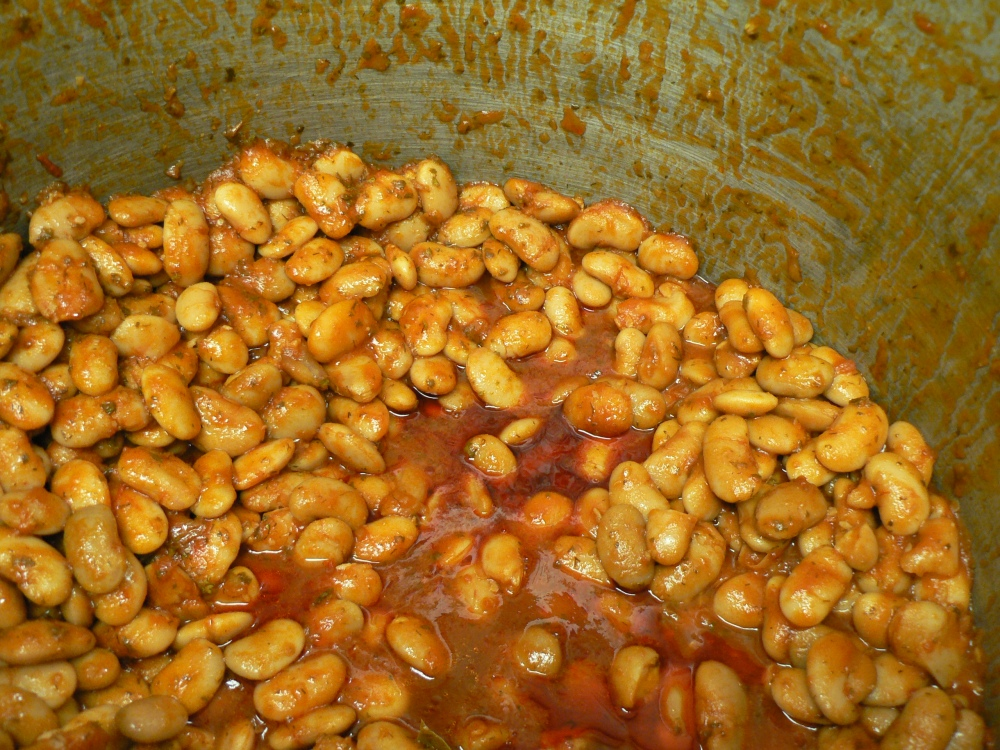"""I eat these beans called 'yigantes"""" all year long.  Creamy and oh so savory I could eat this whole pot!"""