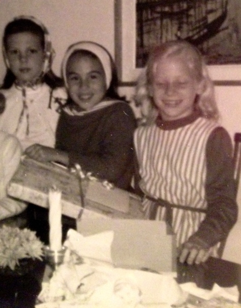 My ninth birthday. Mama gave me an iceskating party. Very cool for South Florida! L-R Dana, me, Andrea