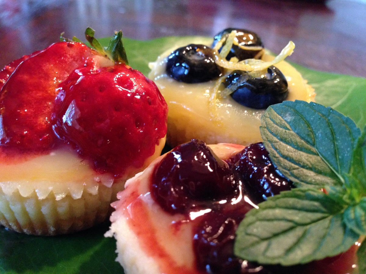 Goat Cheese Cheesecake Bites Topped with Lemon Curd and Fresh Fruit