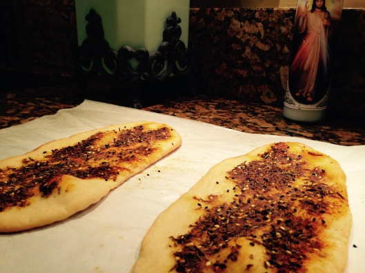 Flatbread with za'atar, a Middle Eastern condiment made from a mixture of dried herbs, sesame seeds and sumac plus a quick scattering of sea salt.  Divine to munch on with a glass or two of wine and your special someone.