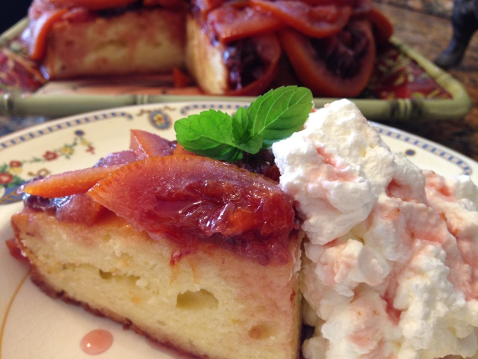 Sweet Poached Blood Oranges over Greek Yoghurt Cake