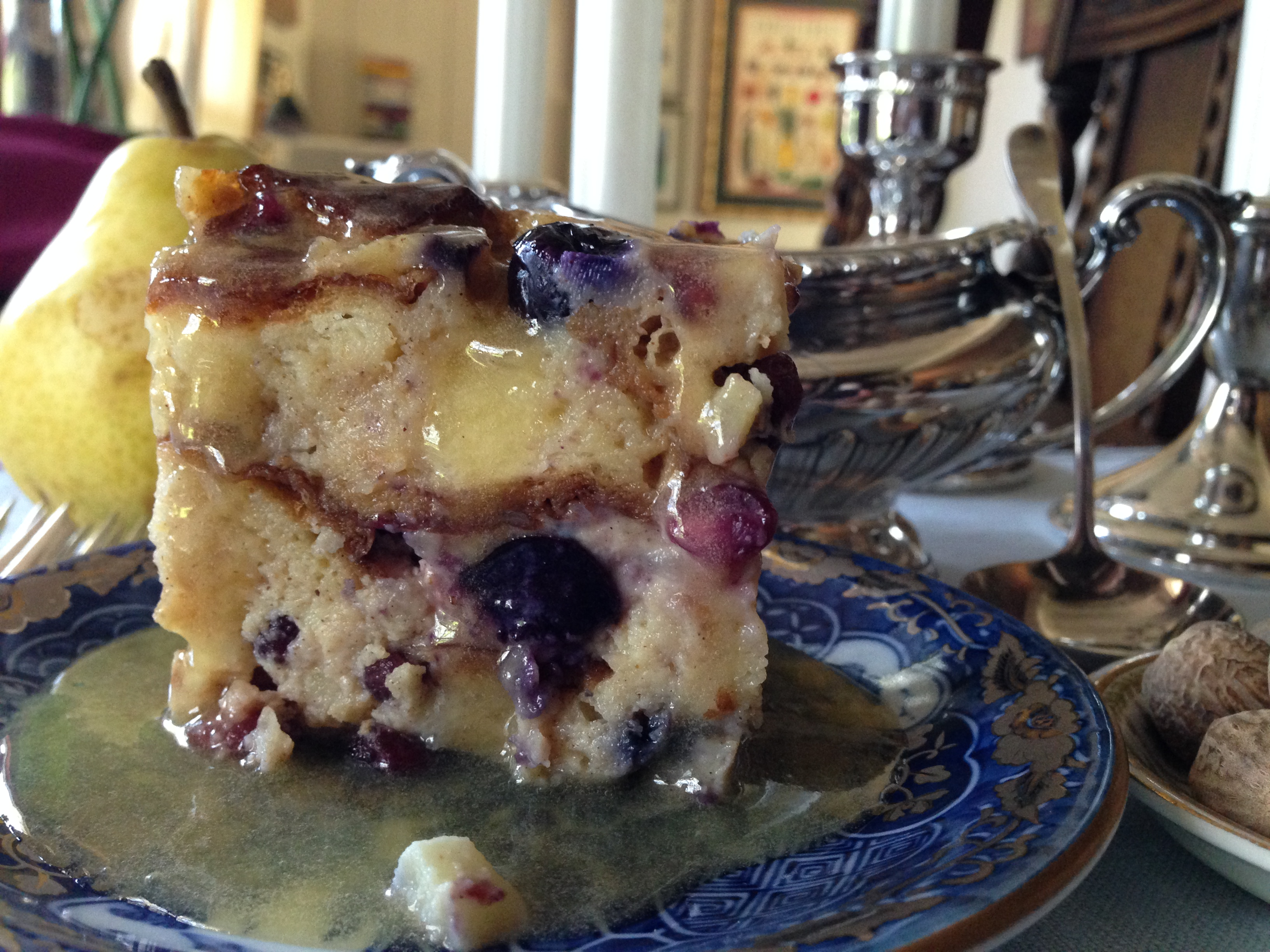 fruited bread pudding with a warm boozy hard sauce the
