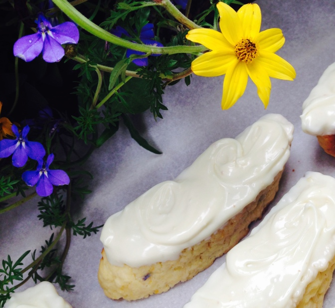 Lemon Lavender Biscotti dipped in White Chocolate