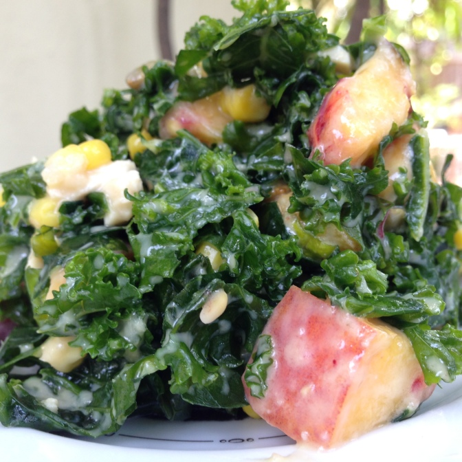 Killer Summer Kale Salad with Miso, Pepitas and Peaches