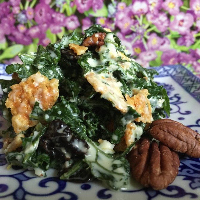 Kale Salad with Sour Cherries, Frico, Toasted Pecans and Buttermilk Dressing – the last summer salad