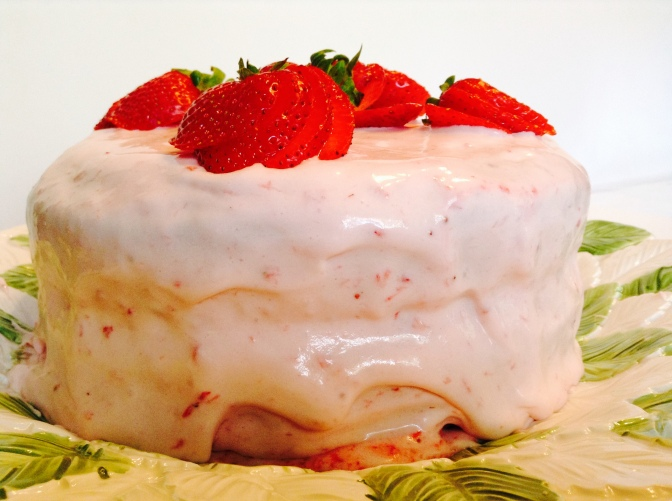 Comfort…2-layer Yellow Cake with Fresh Strawberry Cream Cheese Icing