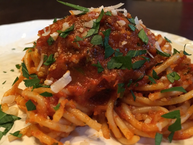 Spicy Spaghetti Sauce loaded with invisible vegetables