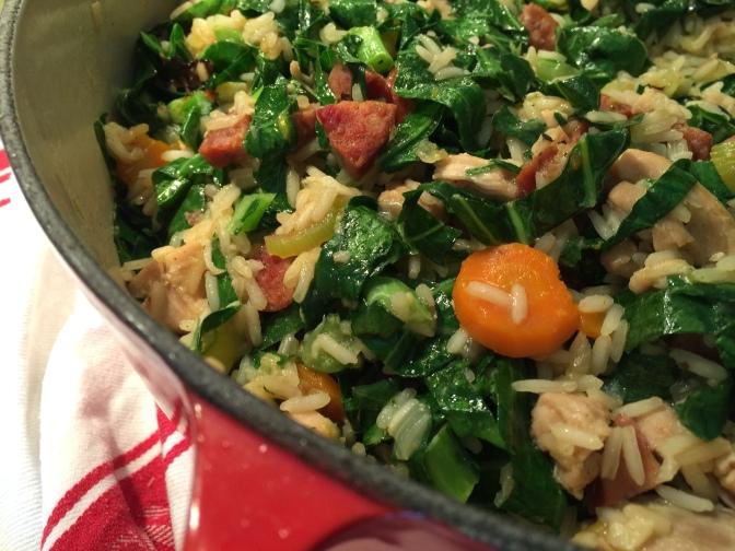 Comfort Food…Chicken, Sausage and Collard Pilau