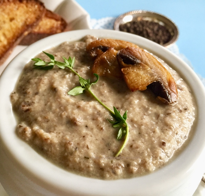 Heavenly Cream of Roasted Mushroom and Brie Soup